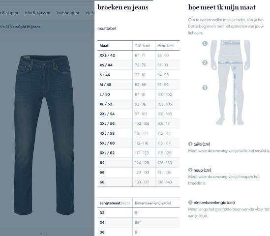 Jeansmaten en broekmaten maattabel omrekenen